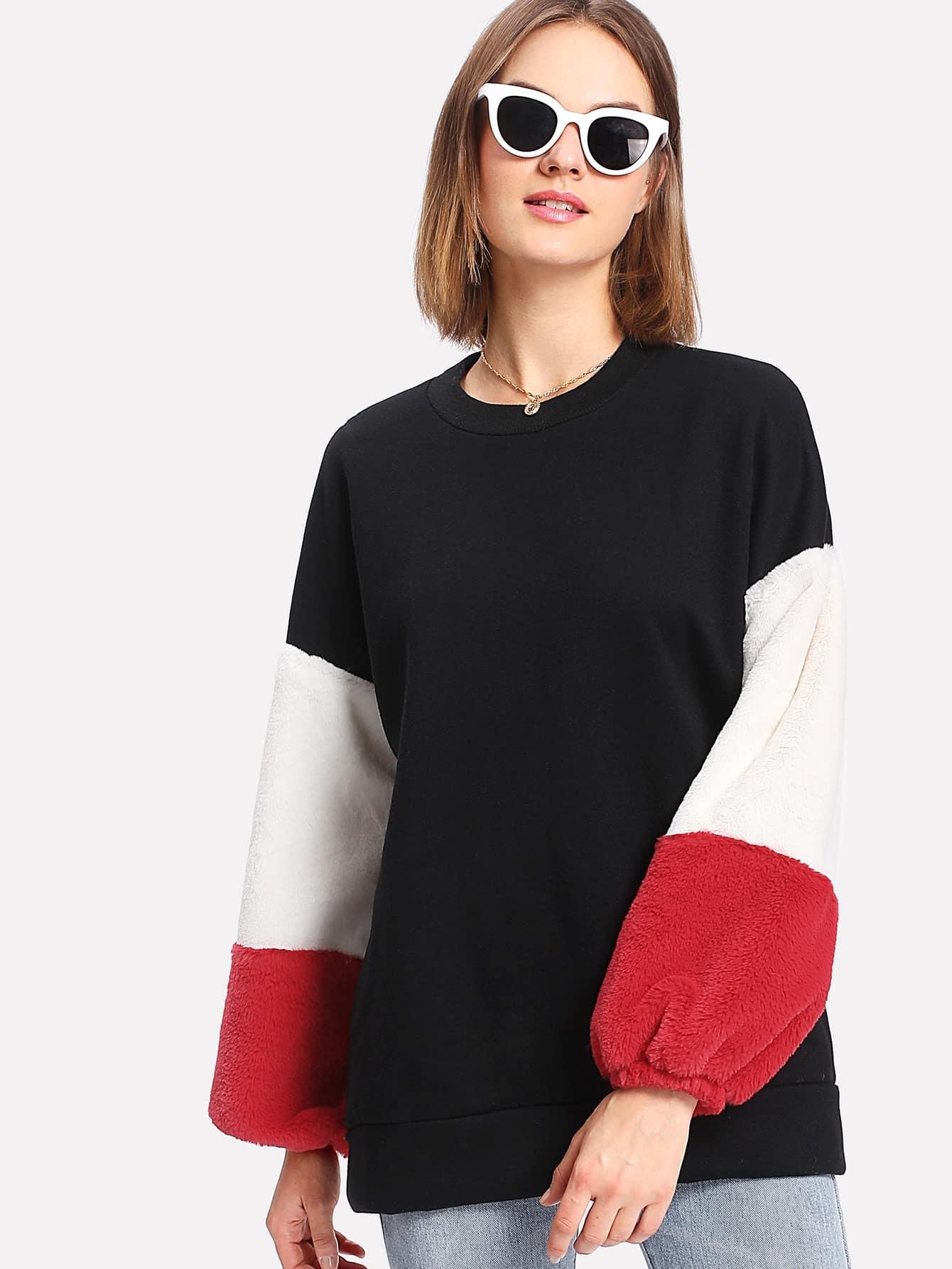 Cut And Sew Faux Fur Sleeve Sweatshirt drop shoulder contrast faux fur sleeve sweatshirt