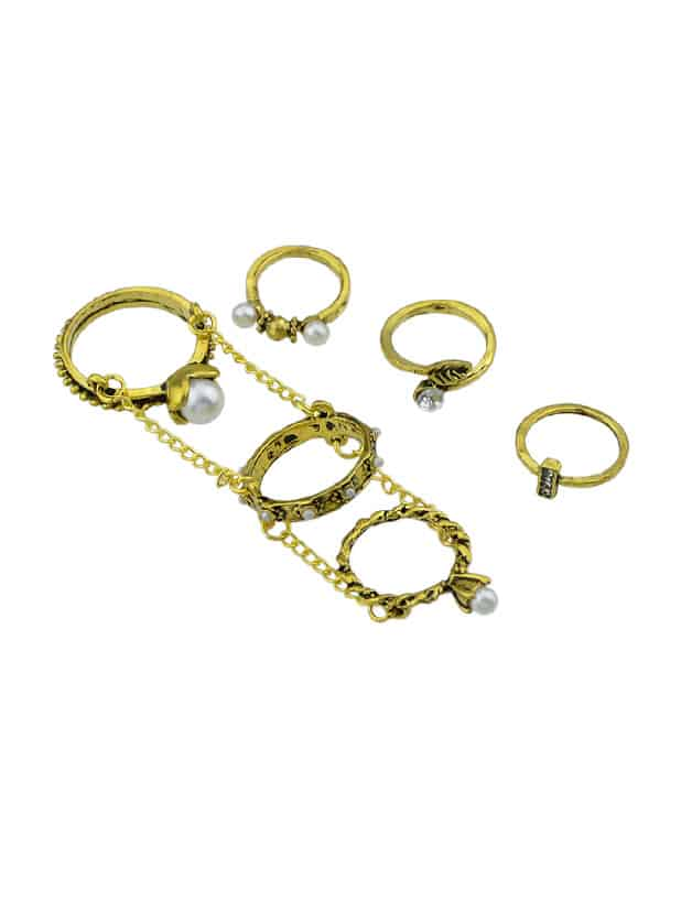 At-Gold 6Pcs / Set Boho Chic Vintage Style Kreis Kette Knuckle Ring Set