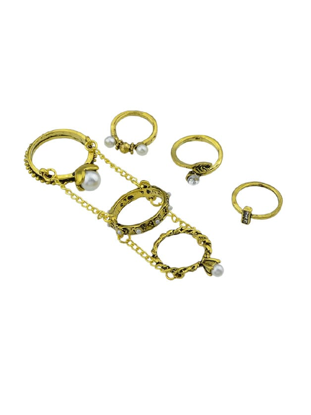 At-Gold 6Pcs/Set Boho Chic Vintage Style Circle Chain Knuckle Ring Set