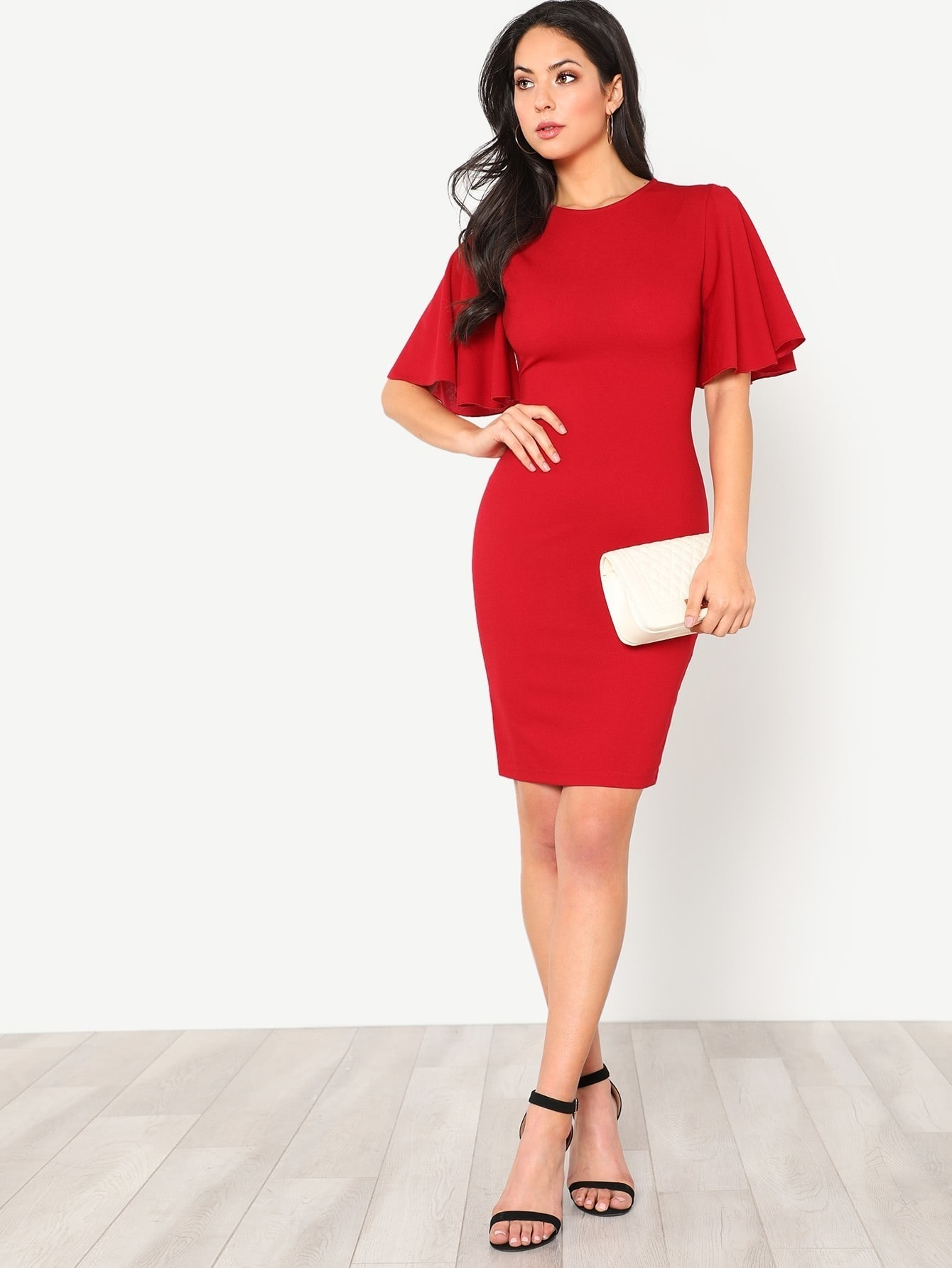 Exaggerate Bell Sleeve Pencil Dress exaggerate bell sleeve buttoned keyhole dress