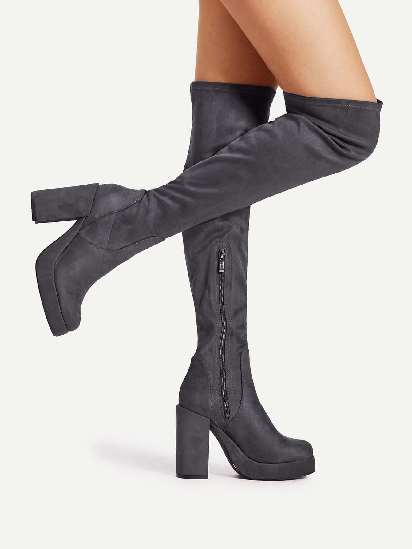 Block Heeled Thigh High Boots