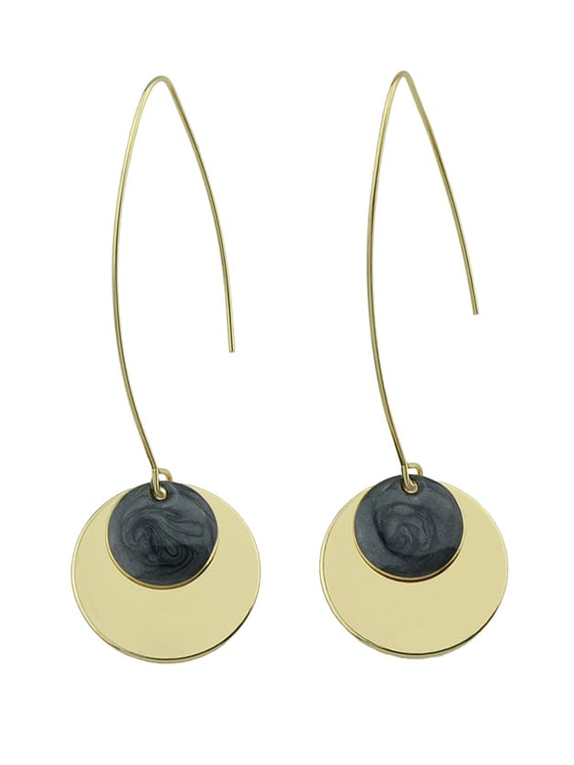 Image of Black Round Party Female Earrings