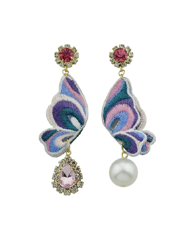 Pink Butterfly Shape With Simulated-Pearl And Rhinestone Drop Earrings kinston flower and butterfly rhinestone