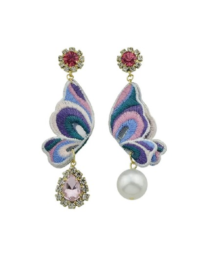 Pink Butterfly Shape With Simulated-Pearl And Rhinestone Drop Earrings