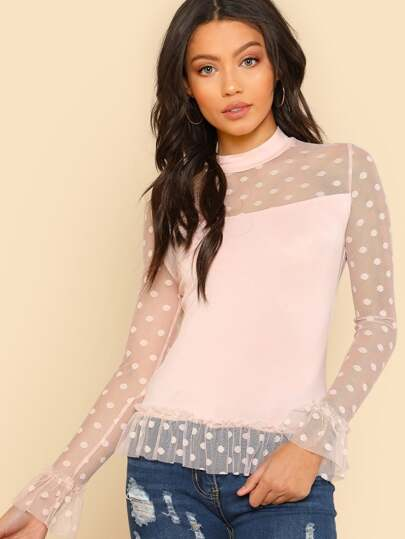 Polka Dot Mesh Shoulder And Hem T-shirt