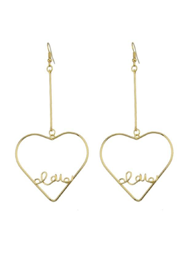 Letter Love Pattern Geometric Drop Earrings