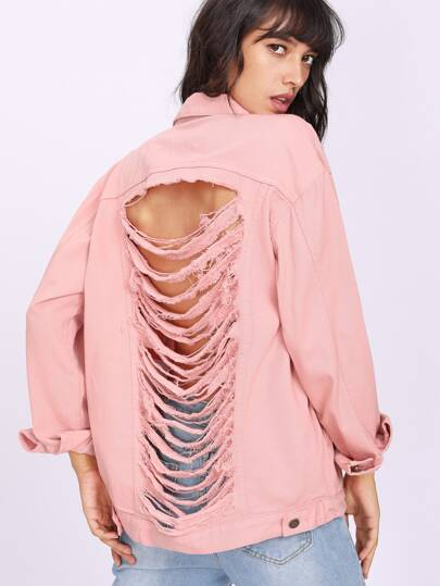 Laddering Slit Back Frayed Trim Jacket