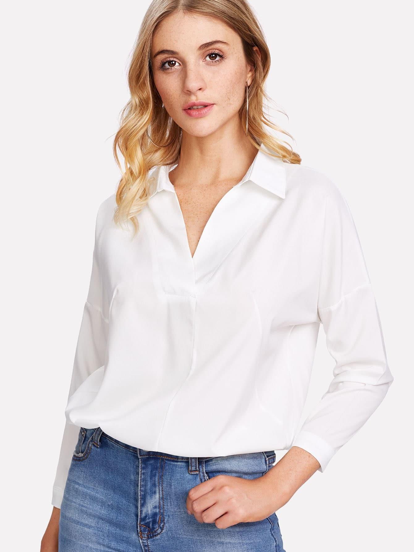 Купить Модная рубашка с кружевной вставкой, Nathane, SheIn