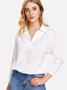 Lace Contrast Back Drop Shoulder Shirt