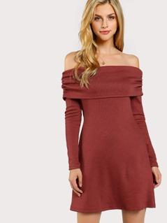 Fold Over Off Shoulder Dress