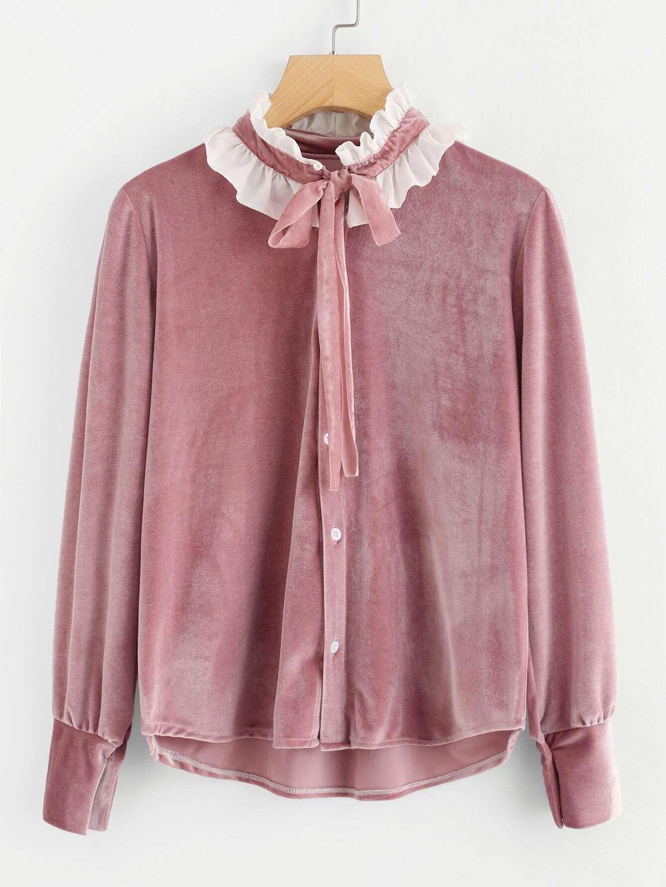 купить Contrast Frill Trim Tie Neck Velvet Shirt недорого