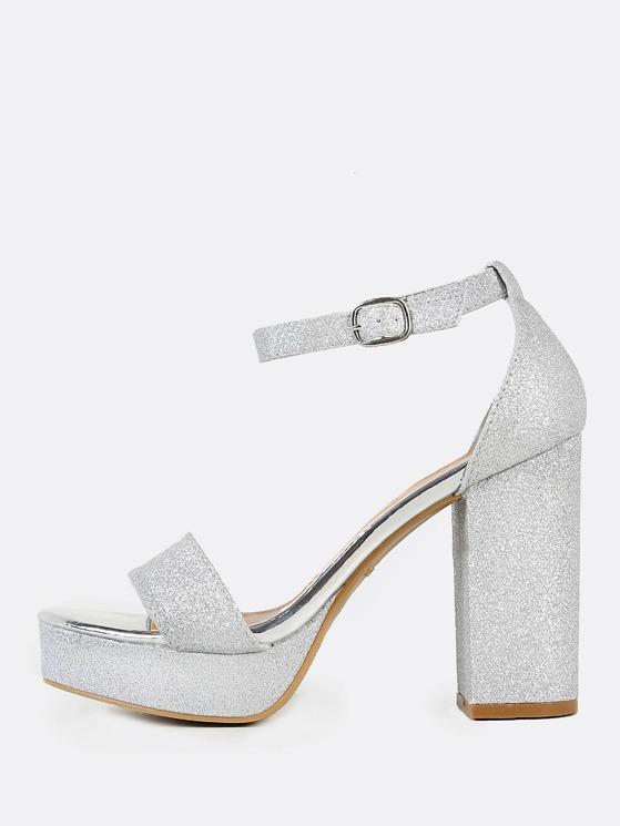 dde4530507b Glitter Ankle Strap Chunky Heels SILVER