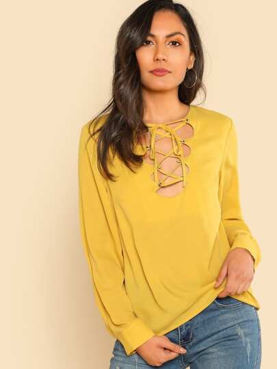 Grommet Lace Up Front Blouse