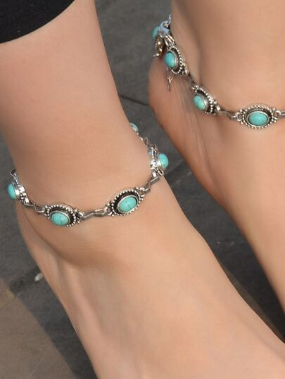 1Pc Boho Chic Anklets Ethnic Jewelry Chain Blue Stone Anklets