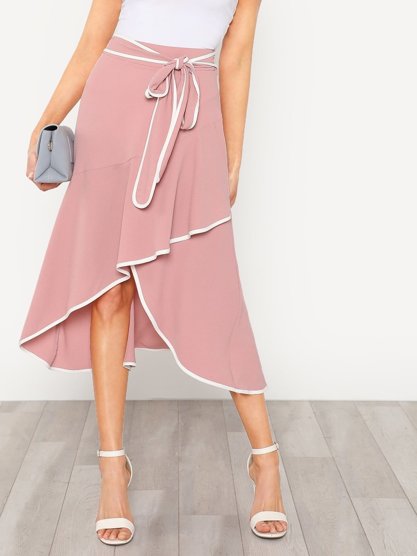 Contrast Binding Self Tie Asymmetric Ruffle Skirt self tie waist ruffle skirt