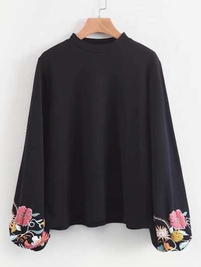 Embroidered Lantern Sleeve Blouse