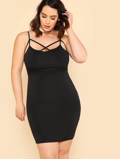 Strappy Neck Form Fit Cami Dress