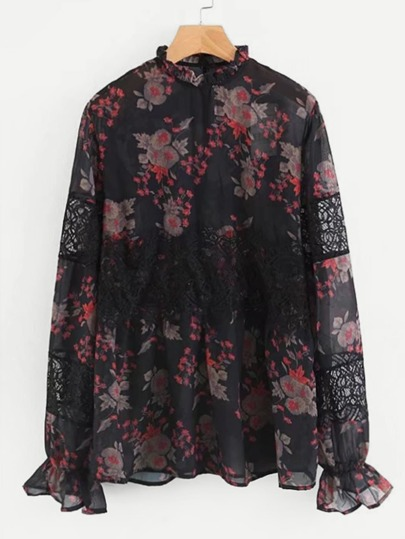 Lace Spliced Floral Chiffon Blouse