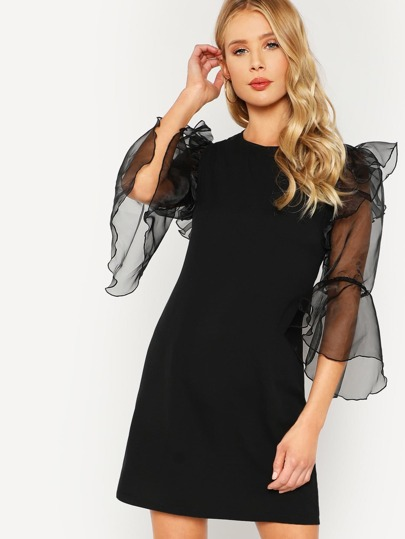 Ruffle Trim Organza Trumpet Sleeve Dress