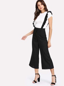 Pinstripe Culotte Pants With Ruffle Strap