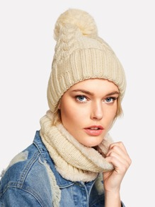 Knit Bobble Hat With Infinity Scarf