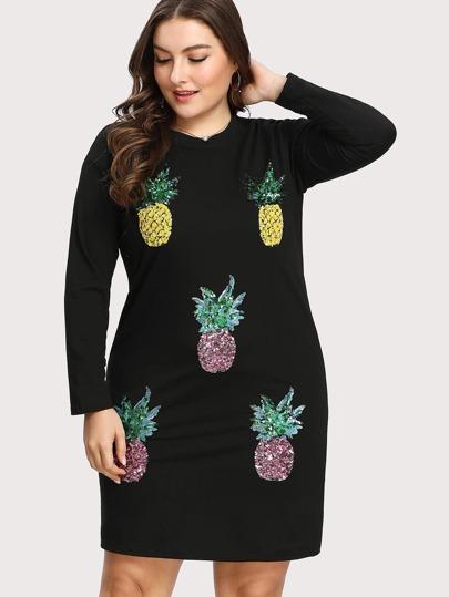 Contrast Sequin Pineapple Dress