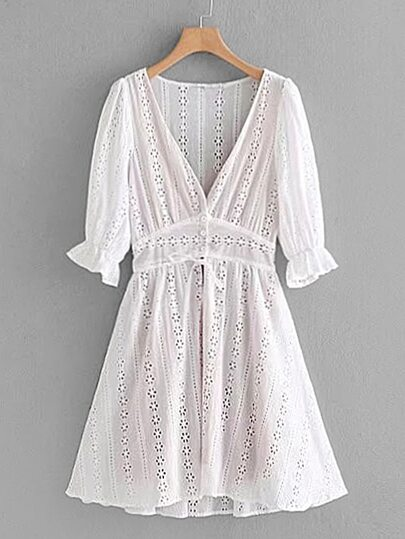 Pointelle Lace Crochet Dress