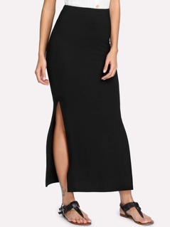Split Side Solid Skirt