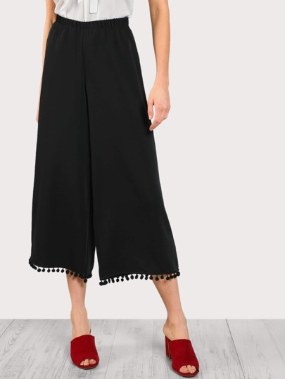 Ball Trim Flowy Pants BLACK