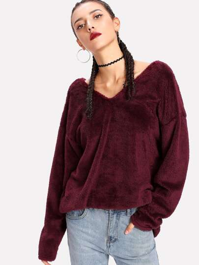 Double V Drop Shoulder Faux Fleece Pullover