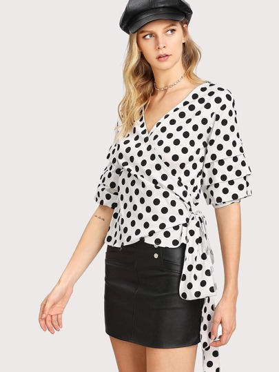 Layered Sleeve Knot Side Polka Dot Wrap Blouse