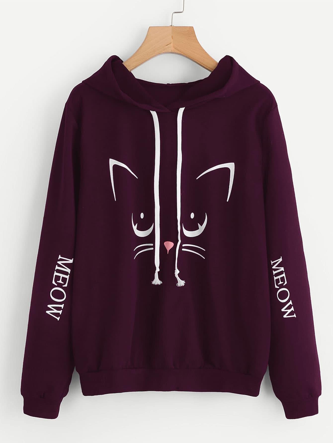Cat & Letter Print Hoodie letter print raglan hoodie