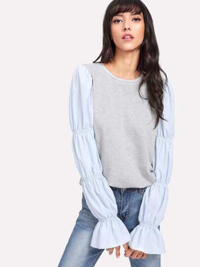 Heather Knit Tee With Elasticized Puffed Sleeve