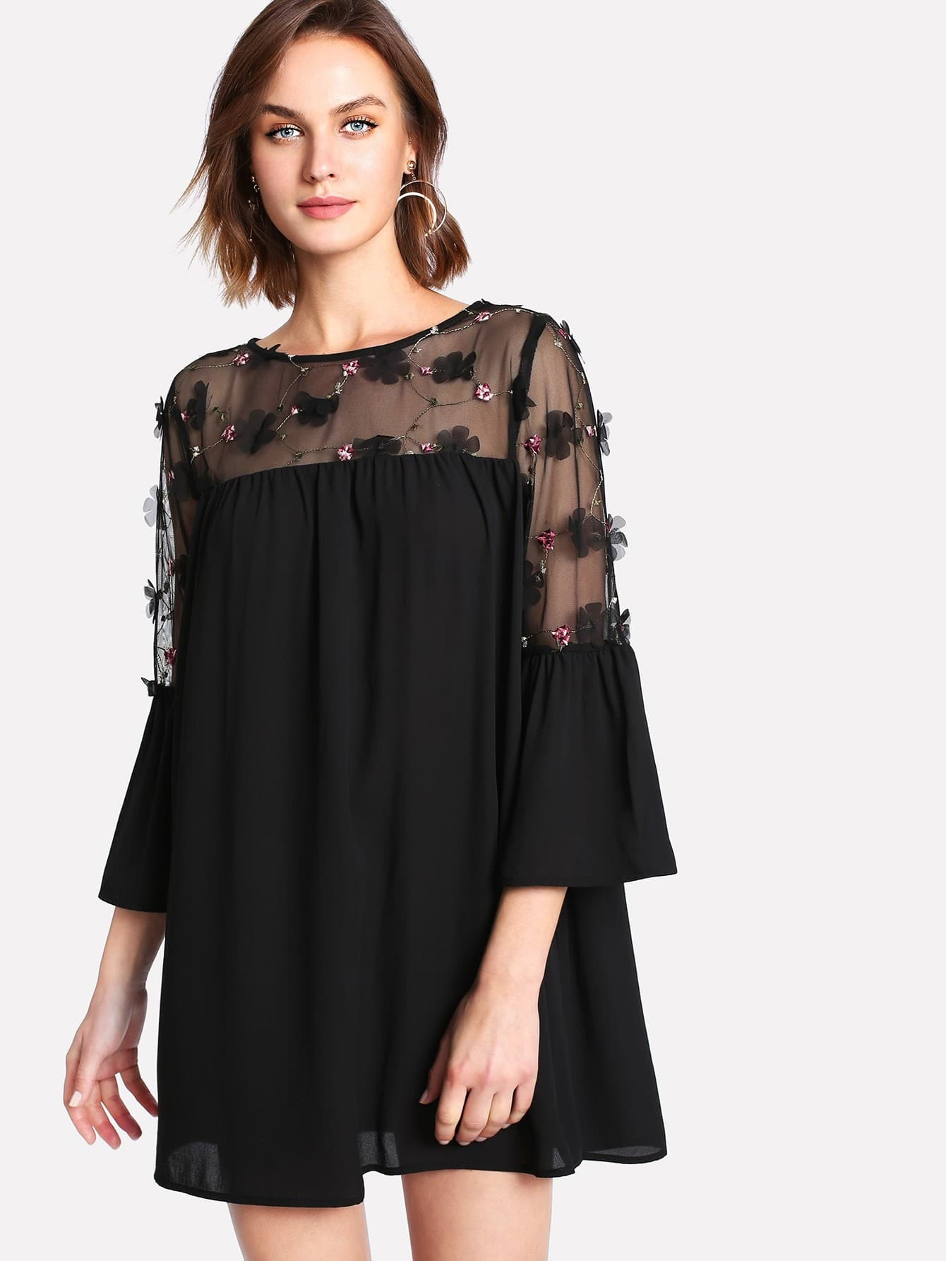 Embellished Mesh Panel Flounce Sleeve Dress