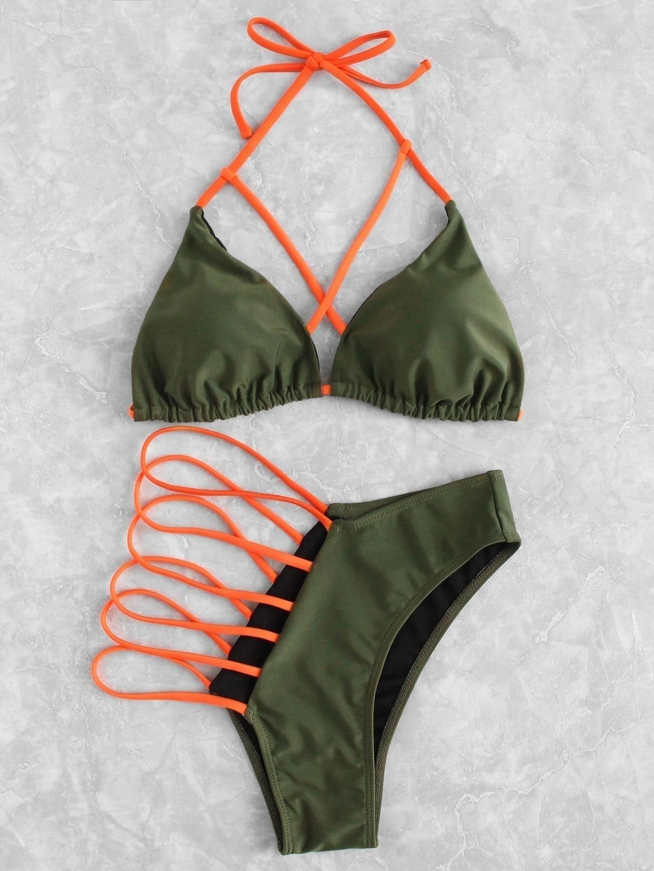 Criss Cross Ladder Cut Out Bikini Set padded criss cross bikini set