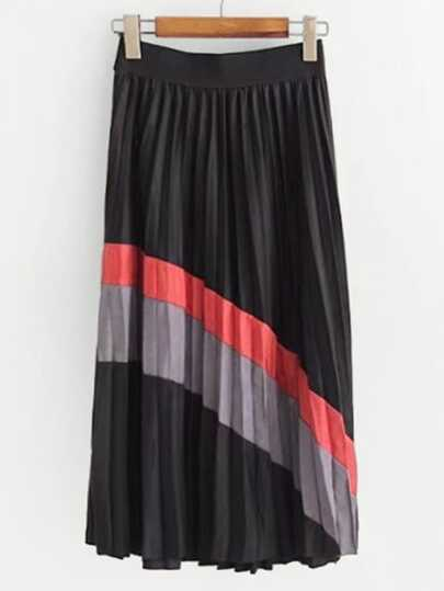 Color Block Pleated Suede Skirt
