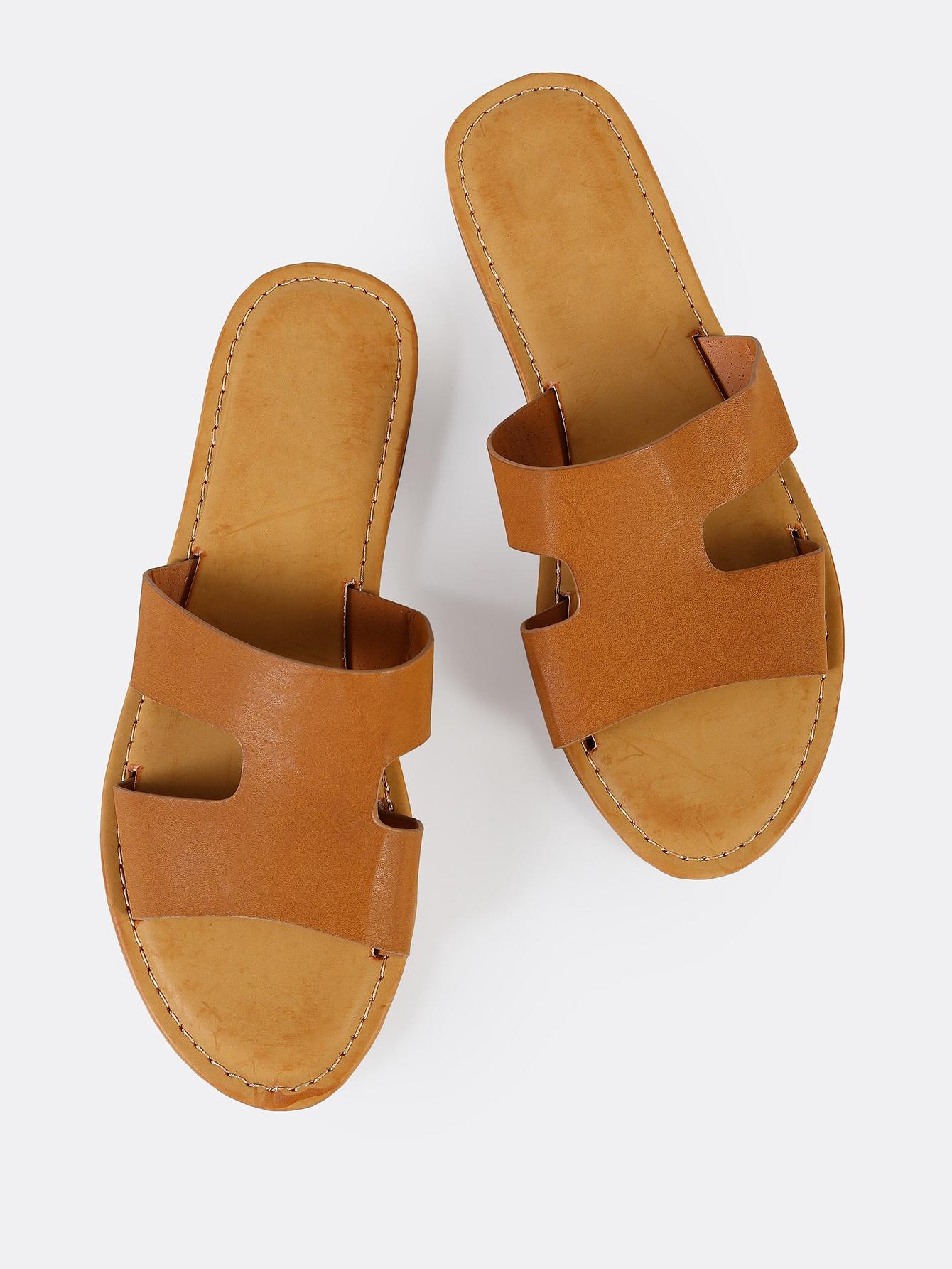 Купить Искусственные кожаные сандалии TAN, null, SheIn