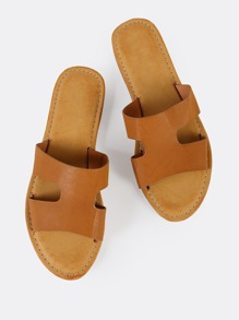 H Cut Out Open Toe Faux Leather Sandals TAN
