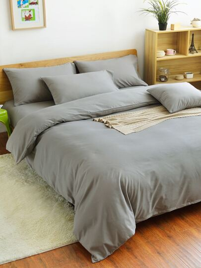 2.0m 4Pcs Simple Solid Colour Bed Sheet Set