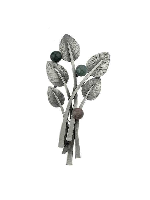 Black Vintage Style Gunblack Metal Beads Plant Leaf Brooch oak leaf
