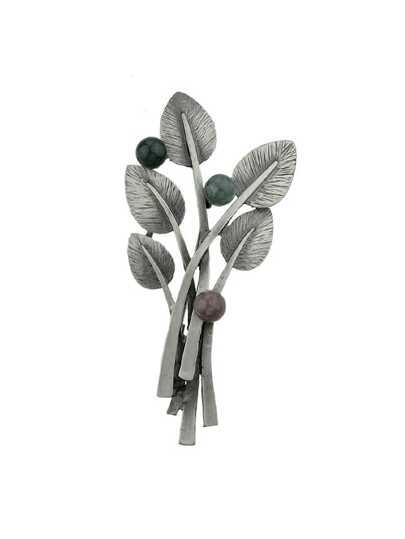 Black Vintage Style Gunblack Metal Beads Plant Leaf Brooch