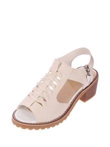 Peep Toe Side Zipper PU Sandals