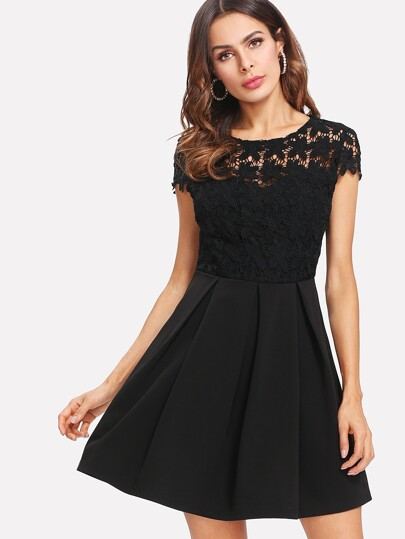 Lace Bodice Tie Back Pleated Dress