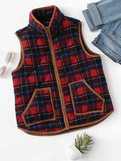 Contrast Binding Zip Up Checked Vest