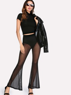 Transparent Mesh Flare Hem Pants