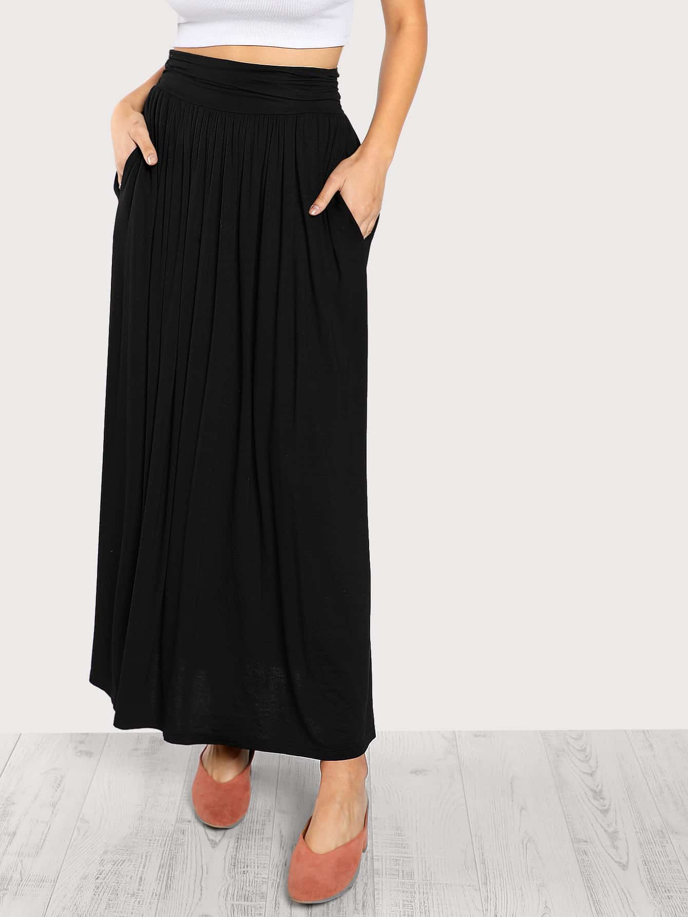 Ruched Waist Jersey Skirt skirt171020703