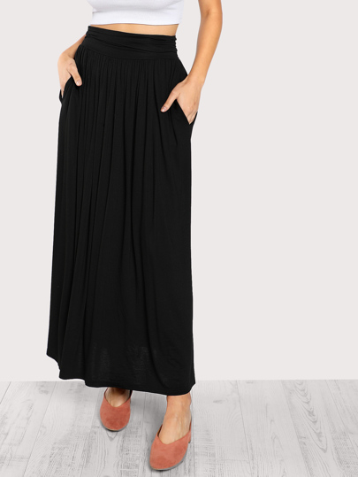 Ruched Waist Jersey Skirt