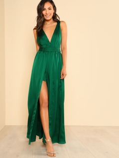 Pleated Halter Front Slit Maxi Dress GREEN
