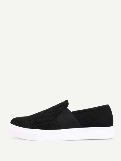 Round Toe Suede Slip On Plimsolls