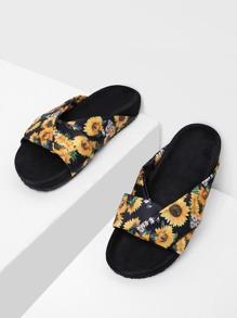 Sandali con stampa di girasole